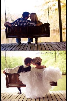 Take the same photo for engagement and your wedding