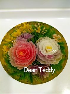Art Cakes, Cake Art, Puding Art, 3d Jelly Cake, Serving Bowls, Tools, Tableware, Floral, Instruments