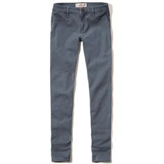 Hollister Low Rise Super Skinny Twill Pants ($50) ❤ liked on Polyvore featuring pants, navy, navy blue trousers, navy trousers, navy skinny pants, zipper trousers and skinny leg pants