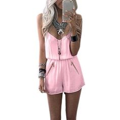 Casual Pink Romper for summer