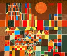 Illustration in the style of Paul Klee's Castle and Sun