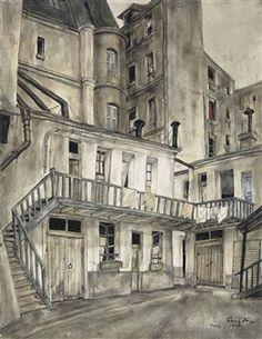 Tsuguharu Foujita (Japanese, Cour intérieure, Paris, Oil on canvas, x cm. Anton, Paris City, Paris 13, Japan Art, Cool Artwork, Impressionist, Pastels, Art History, Trendy Tree