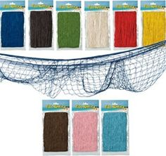 Fish Netting adds a great look to your nautical party. Our fish netting comes in six different colors and is also good for luau and pirate theme parties.