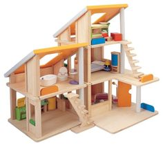 Chalet Doll House with Furniture. Made of two units that can be positioned in many ways. More at toys4mykids.com