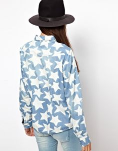 Enlarge Only Star Print Denim Shirt