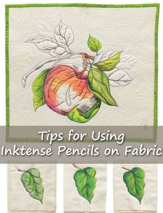 Add color to your wholecloth quilts using Inktense pencils. Here are tips from A… Add color to your wholecloth quilts using Inktense pencils. Here are tips from Ana Buzzalino to keep in mind when using this technique to paint on fabric. Thread Painting, Ink Painting, Fabric Painting, Fabric Art, Fabric Crafts, Watercolor On Fabric, Tape Crafts, Watercolor Pencils, Inktense Blocks