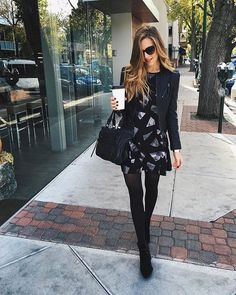 35 Brilliant Stockings Outfits Ideas to Your Casual Style Inspiration. winter strumpfhose 35 Brilliant Stockings Outfits Ideas to Your Casual Style Inspiration - PDB Trending Mode Outfits, Fall Outfits, Casual Outfits, Fashion Outfits, Fall Dresses, Winter Dresses For Work, Mode Rockabilly, Winter Tights, Leather Jacket Outfits