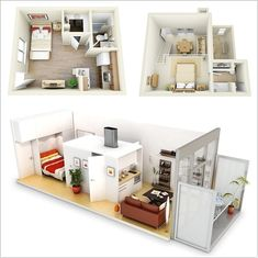 10 Ideas for One bedroom Apartment Floor Plans -     #AmazingInteriorDesign      A small area doesn't should be boring whether it is designed in a sensible method. So in case you are additionally about to get a one bed room condominium designed check out these fabulous 3d flooring plans: M. A Floor Plan with an Open Plan Kitchen      P. An Apartment with Kitchen...