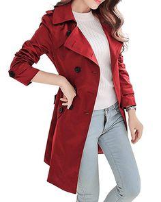 Women's Double Breasted Detachable Hoodie Trench Coat With Belt - Khaki - Red Trench Coat, Double Breasted Trench Coat, Easy Last Minute Costumes, Very Short Dress, Coats For Women, Clothes For Women, Waterproof Coat, Cap Dress, Oversized Coat