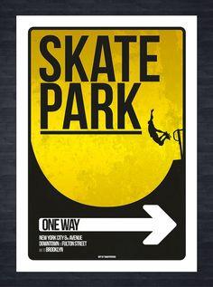SKATE PARK SIGN  New York Skate Park print by SouthBronxSocialClub
