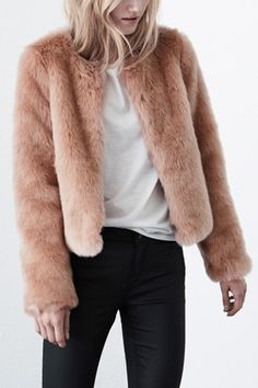 Pink Crop Faux Fur Jacket $116.00