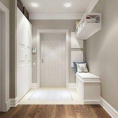 modern corridor design with concrete floor and indirect . modern corridor design with concrete flo Home Design, Flur Design, Design Ideas, Hallway Decorating, Interior Decorating, Interior Design, Style At Home, White Hallway, Modern Hall