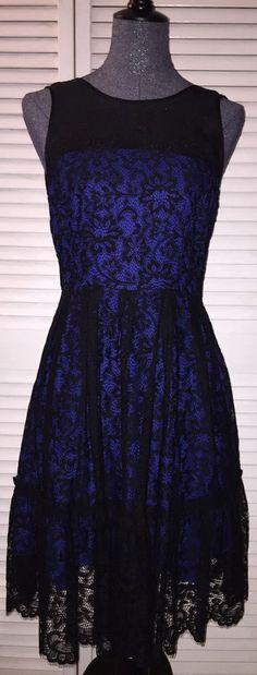 Anthropologie Moulinette Soeurs Blue Sapphire Lace Dress 6 NWOT #MoulinetteSoeurs #Cocktail