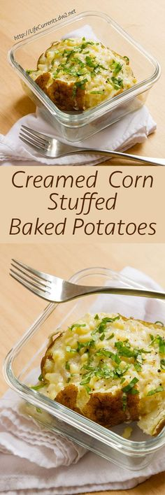 Creamed Corn Stuffed Baked Potatoes