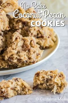 Coconut pecan cookies are a chewy homemade sweet treat that is perfect for summer. Made with shredded coconut and chopped pecans these easy cookies are made even better by being no-bake! # coconut Desserts No Bake Coconut Pecan Cookies recipe Coconut Pecan Cookie Recipe, Pecan Cookie Recipes, Coconut Pecan Frosting, Cookie Desserts, No Bake Desserts, Just Desserts, Dessert Recipes, No Bake Coconut Cookies, No Bake Cookie Recipe