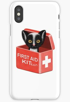 Drawing of a cute kitten by DrawingEggen iPhone Case for Sale Cool Phone Cases, Iphone Case Covers, Cat Lover Gifts, Cat Lovers, Funky Design, First Aid, Kittens Cutest, Cool Gifts, Protective Cases