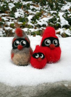 Needle Felted Cardinal Family- Felted Bird Family of Three, Christmas, Winter, and Holiday Decoration