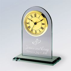 Give the happy couple celebrating their milestone anniversary a thoughtful gift with an engraved glass clock celebrating their love Personalized Clocks, Personalized Wedding Guest Book, Personalized Anniversary Gifts, Anniversary Clock, Anniversary Gifts For Parents, First Wedding Anniversary, Traditional Anniversary Gifts, Silver Wedding Invitations, Unique Wedding Gifts