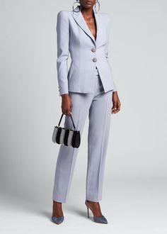 Suit Fashion, Luxury Fashion, Fashion Outfits, Womens Fashion, Outfits 20 Grad, Giorgio Armani, Light Blue Suit, Armani Blazer, Bergdorf Goodman