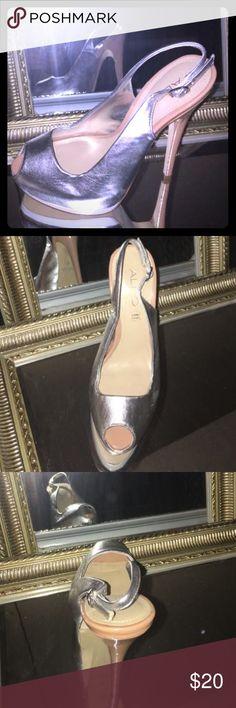 Silver aldo heels Silver & white heels ALDO Shoes Heels