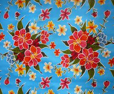 Light Blue Hibiscus Oilcloth