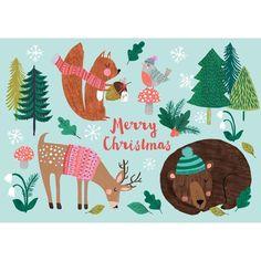 Merry Christmas postcard or mini print by Rebecca Jones for Petit Monkey