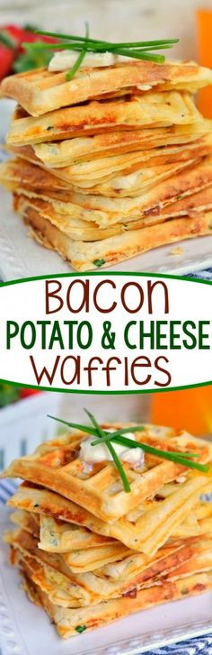 Low Carb Recipes To The Prism Weight Reduction Program These Freezer-Friendly Bacon Potato And Cheese Waffles Make School Mornings Just A Little Bit Easier And A Lot More Yummy Perfect For Breakfast, Brunch, Or An After School Snack Mom On Timeout Breakfast Dishes, Breakfast Time, Breakfast Recipes, Breakfast Sandwiches, Frozen Breakfast, Breakfast Healthy, Breakfast Burritos, Breakfast Ideas, Bacon Recipes