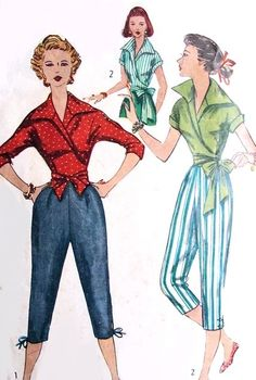 1950s Fab Wrap Around Blouse and Capri Pants Pattern Simplicity 4255 Striking Wing Collar Side or Centre Tied Wrap Blouse Bust 32 Vintage Sewing Pattern