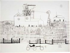 "Certified Lanscape, Saul Steinberg, 1969, ink, pencil, and rubber stamp on paper. 22 1/4"" x 30"""