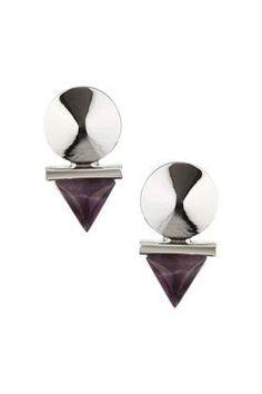 Semi Precious Triangle Drop Earrings