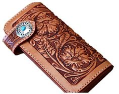 Handmade Personalized Men's Leather Wallet Vegetable Leather classics carving flower wallet purse card case Christmas Valentine's Day Gift