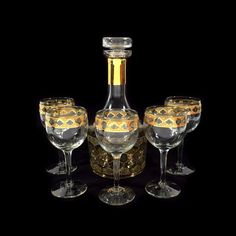 Vintage Gold Culver Valencia Glass Decanter & 5 Wine Goblets MCM Barware Set