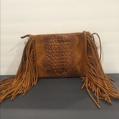 Suede Fringe Italian Leather Clutch/Strap Gorgeous suede fringe. Made in Italy. Slim clutch with detachable leather strap. Substantial and beautiful. Bags Shoulder Bags