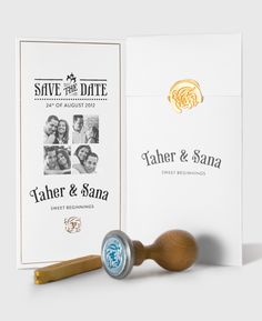 Gold Sealing Wax @ Behance. The wedding invitation could be a plain white trifold closed with a gold seal emblem. Inside English on one side, Vietnamese on the other. Simple, elegant, classic.