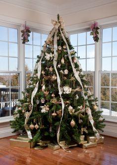 Une déco qui met en avant la grande hauteur de ce sapin de Noël !