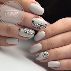 60 Stylish Nail Designs For Short Nails 141 Fabulous Nails, Gorgeous Nails, Pretty Nails, Gray Nails, Hot Nails, Fancy Nails, Stylish Nails, Creative Nails, Nail Trends