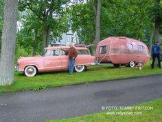 So cool! Vintage pink car and vintage pink trailer