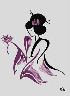 Geisha with Flower ♥ by Russian Minimalist artist Tatyana Markovtsev. Tatyana is able to express powerful and complex human feelings via just a few elegant lines, and she does this without ever drawing faces. Please see more of Tatyana's art at http://www.feeltheline.com