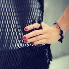 Close-up on JuJu @jujuip #VelvetUnderground spike bracelet & ring!