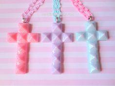 Pastel Goth Glitter Cross Necklace Choose by NerdyLittleSecrets, $9.50