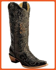 Corral Women's Vintage Distressed With Lizard Inlay Cowgirl Boot Snip Toe Black 9.5 M US - Boots for women (*Amazon Partner-Link)