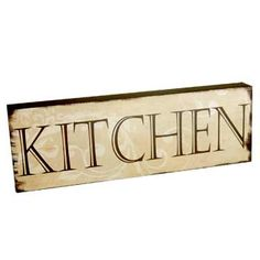 "$13.99 This 10.5"" x 3.5"" x 1"" wood brick has the word KITCHEN written on it.  A fun gift for any kitchen"
