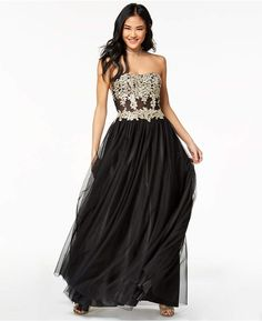 981bf4edc3908 My Michelle Juniors' Strapless Metallic-Embroidered Ball Gown for Prom! #ad  #