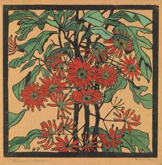 Wheel Flower, Stenocarpus sinuatus by Margaret Preston, 1929. Woodblock print,  hand-coloured in gouache on brown mulberry paper | Art Gallery of New South Wales