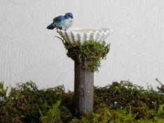 Miniature Fairy Garden  Birdbath with bird - shell bird bath with water effect ONE by TheLittleHedgerow on Etsy https://www.etsy.com/listing/183027059/miniature-fairy-garden-birdbath-with
