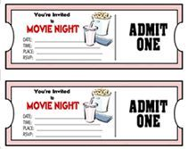 Movie Ticket Theme Party Invitations, Free And Printable