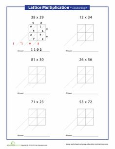 The lattice method for multiplication may be a different way of multiplying than your child is used to, and could help practice multiplying double digits. Lattice Multiplication, Learning Multiplication Facts, Multiplication Worksheets, Teaching Math, Multiplication Problems, Math Fractions, Fourth Grade Math, Third Grade, Math Classroom