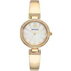 Armitron Women's Crystal Half Bangle Watch (175 BRL) ❤ liked on Polyvore featuring jewelry, watches, yellow, swarovski crystal bangle, yellow watches, crystal bangle bracelet, wrap watches and bangle watches