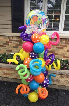 Happy birthday balloon decor - Decoration For Home Carnival Birthday Parties, Diy Birthday, Birthday Party Themes, Happy Balloons, Happy Birthday Balloons, Balloon Columns, Balloon Garland, Balloon Decorations Party, Balloon Centerpieces