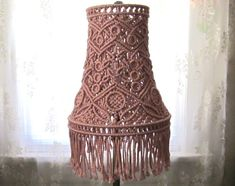 Macrame Lamp Shade For Tall Lamp  Antiquity  Macrame by craft2joy, $65.00